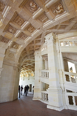 The beautifully carved ceilings and double helix staircase inside the Chateau de Chambord, UNESCO World Heritage Site, Loir-et-Cher, Centre, France, Europe