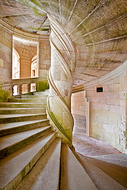 The spirals of a staircase leading up to the chapel at Chateau de Chambord, UNESCO World Heritage Site, Loir-et-Cher, Centre, France, Europe