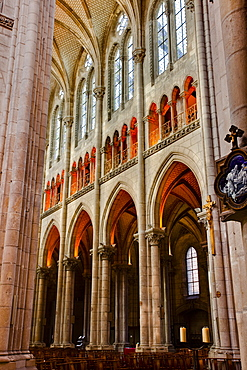The interior of the Basilique de Saint Nicholas in the city of Nantes, Loire-Atlantique, France, Europe