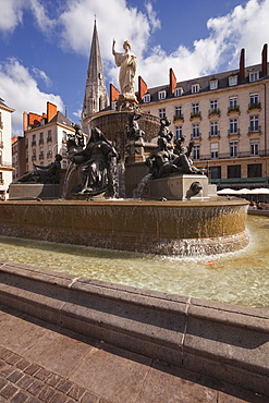 The fountain in Place Royale in the centre of Nantes, Loire-Atlantique, France, Europe