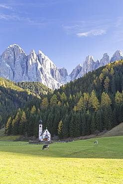 St. Johann, Ranui, Val di Funes, the Dolomites, South Tyrol, Italy, Europe