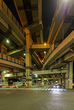Crazy road junction in central Tokyo, Japan, Asia