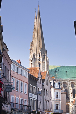 The gothic spires of Chartres cathedral, UNESCO World Heritage Site, Chartres, Eure-et-Loir, Centre, France, Europe