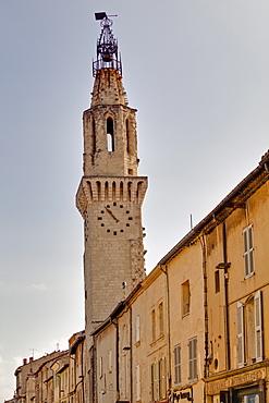 The clock tower of the Couvent des Augustins church, rue du Portail Matheron in the quartier des Carmes, Avignon, Vaucluse, France, Europe