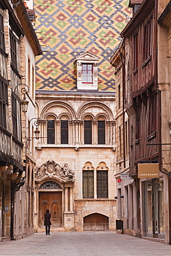 The streets of old Dijon and Hotel Aubriot, Dijon, Burgundy, France, Europe