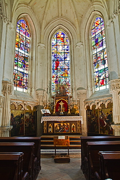 The interior of the chapel at Chaumont-sur-Loire Chateau, UNESCO World Heritage Site, Loire Valley, Loir-et-Cher, Centre, France, Europe