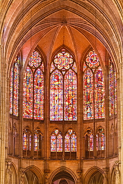 Stained glass windows above the choir in Saint-Pierre-et-Saint-Paul de Troyes cathedral, in Gothic style, dating from around 1200, Troyes, Aube, Champagne-Ardennes, France, Europe