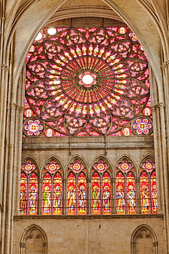 A rose window in Saint-Pierre-et-Saint-Paul de Troyes cathedral, in Gothic style, dating from around 1200, Troyes, Aube, Champagne-Ardennes, France, Europe