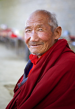 Tibetan Buddhist monk at Tashilunpo Monastery ,Shigatse, Tibet, China, Asia