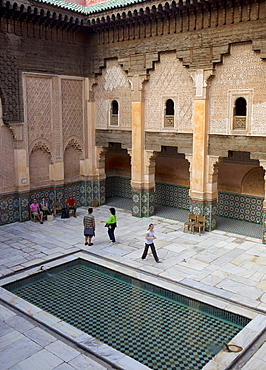 Intricate Islamic design at Medersa Ben Youssef, UNESCO World Heritage Site, Marrakech, Morocco, North Africa, Africa