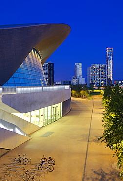 Aquatics Centre at night in the 2012 London Olympic Park, Stratford, London, England, United Kingdom, Europe
