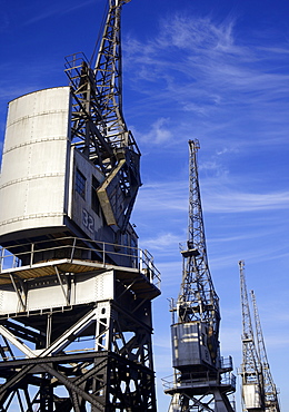 The old dockside cranes at Princes Wharf on the Harbourside in Bristol, England, United Kingdom, Europe