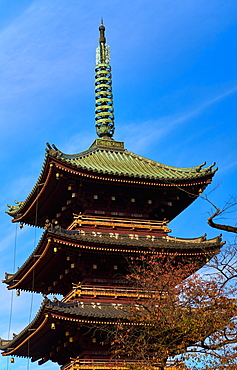 The five storied pagoda of Kan'ei-ji (Kaneiji) temple in Ueno Park, Tokyo, Japan, Asia