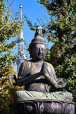 Kannon Bosatsu Buddha sculpture at the Sensoji Temple with the Sky Tree Tower in the background, Asakusa, Tokyo, Japan, Asia