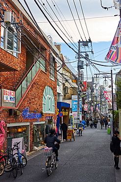 Street scene in Shimokitazawa, Tokyo's trendy neighbourhood, Tokyo, Japan, Asia