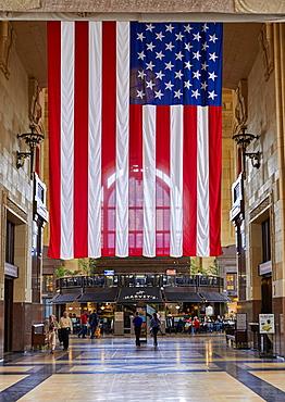 US flag hanging inside Kansas City Union Station