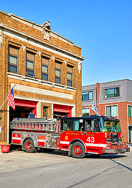 Red Fire Truck outside fire station in Chicago.