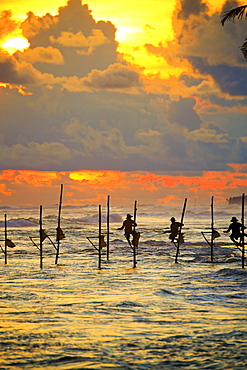 Stilt fishermen near the beach at sunset, traditional fishing, Weligama, Indian Ocean, Sri Lanka