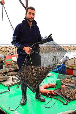 Oysterman carrying a bag of oysters, Etang de Thau, France