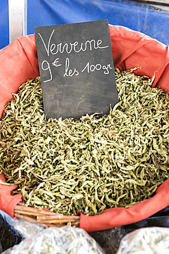 Verbena dried on a market in summer, Provence, France