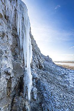 Cap Blanc-nez under the ice in winter, Opal Coast, France
