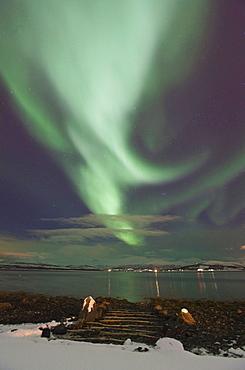 Aurora Borealis over Kvaloya Nature Scenery