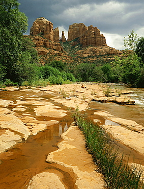 summer storm over cathedral rock at Red Rock Crossing near Sedona Arizona USA