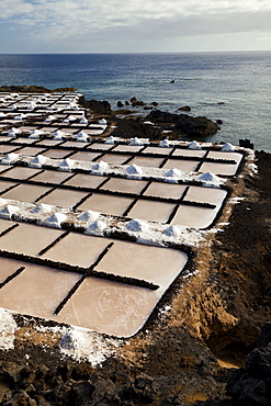 salt-works Salinas de Punta Larga on coast by sea outdoors Pueblo Fuencaliente Isla La Palma Pronvincia Santa Cruz Canary Islands Spain Europe