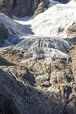 A rapidly retreating glacier on the side of the Grande Jorasses, Mont Blanc range.