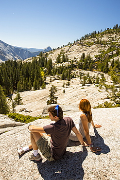Tourists in Yosemite National Park, California, USA.