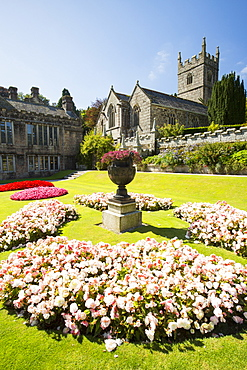 The formal gardens of Lanhydrock a country residence dating from the 1600's in Cornwall, UK.