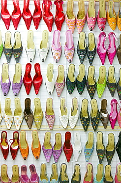 An Asian shoe shop in Leicester, Leicestershire, England, United Kingdom, Europe