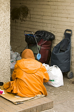 A homeless person in Kendal, Lake District, Cumbria, England, United Kingdom, Europe