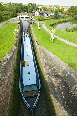 Foxton Locks on the Grand Union Canal, the longest series of locks in the UK with visitors on a summer's day, Leicestershire, England, United Kingdom, Europe