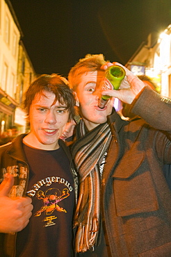 Young men binge drinking and having a good night out in Lancasrter, Lancashire, England, United Kingdom, Europe