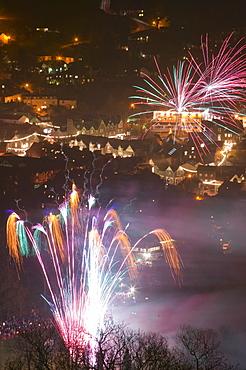 Fireworks over Ambleside, Lake District, Cumbria, England, United Kingdom, Europe