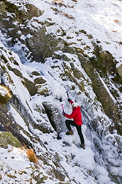 Ice climbing above Dunmail Raise in the Lake District, Cumbria, England, United Kingdom, Europe