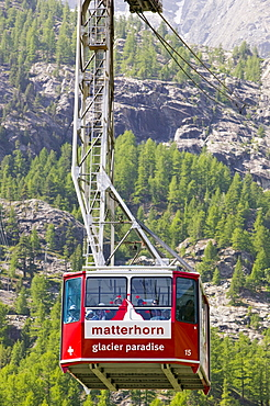 The Klein Matterhorn cablecar above Zermatt, Switzerland, Europe