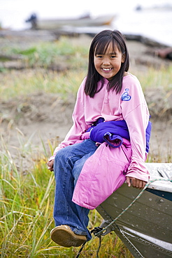 An Inuit girl on Shishmaref, a tiny island between Alaska and Siberia in the Chukchi Sea, United States of America, North America