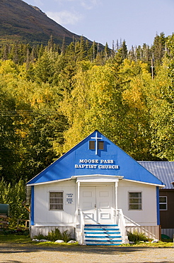 A church in the Chugach Mountains, Moose Pass, Alaska, United States of America, North America