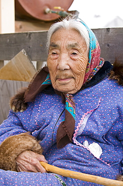 Lola Everson, an Inuit elder on Shishmaref, a tiny island inhabited by around 600 Inuits, between Alaska and Siberia in the Chukchi Sea, United States of America, North America