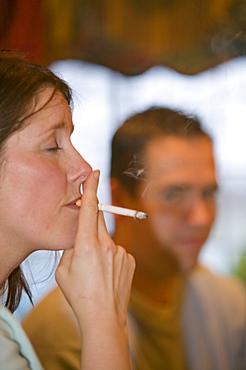 A woman smoking