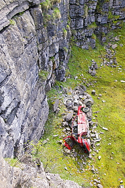 A car abandoned in a limestone quarry at Geltsdale, North Cumbria, England, United Kingdom, Europe
