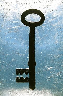 A key frozen in ice