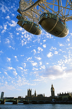 The Houses of Parliament and the London Eye, London, England, United Kingdom, Europe