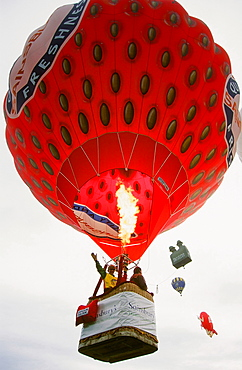 Hot air balloon shaped like a strawberry at the Huddersfield Balloon festival in Yorkshire, England, United Kingdom, Europe