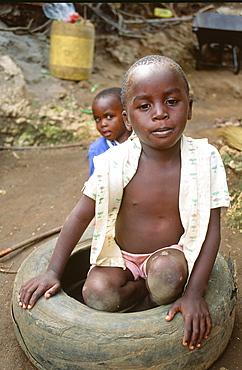 A poor child in Mombasa in Kenya, East Africa, Africa