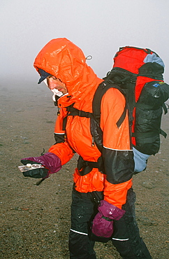 A mountaineer navigating in the Cairngorm mountains in the mist and rain in Scotland, United Kingdom, Europe