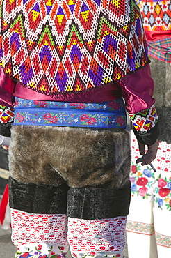 Inuit women wearing traditional Greenlandic national costume (Kalaallisuut) in Ilulissat on Greenland, Polar Regions
