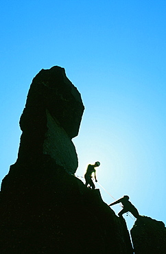 Climbers on Napes Needle on Great Gable in the Lake District, Cumbria, England, United Kingdom, Europe
